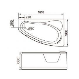 Размеры ванны Gemy G9046 K R.