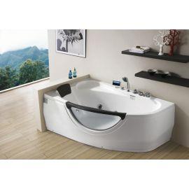 Акриловая ванна Gemy G9046 II K L с мультимедиа с подголовником черного цвета (старый дизайн).