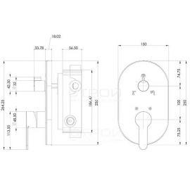 Душевой комплект Omega Teska со смесителем скрытого монтажа на 3 режима - схематические размеры
