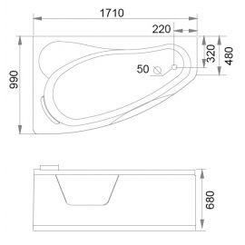 Схематические размеры гидромассажной ванны Gemy G9046 II K L.