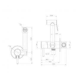 Гигиенический душ Pulito — BTK 68000 хром с подачей горячей и холодной воды- схематические размеры