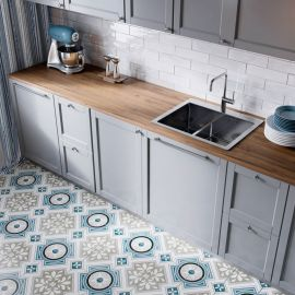 Плитка Borneo Grey 45x45 Timeless в интерьере кухни