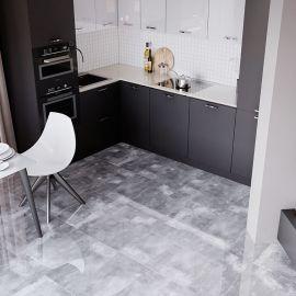 Плитка керамогранит Oasis Manhattan Gris 60x60 см полированная в интерьере