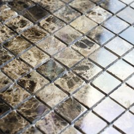 Мозаика Dark Emperador Polished (JMST023) 20x20 мм из натурального мрамора из коллекции Wild Stone
