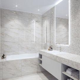 Мозаика Grey Polished (JMST026) 20x20 мм из натурального светло-серого мрамора в ванной комнате