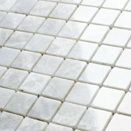 Мозаика White Polished (JMST037) 20x20 мм из натурального белого мрамора из коллекции Wild Stone