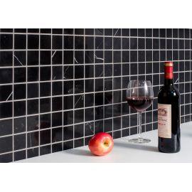 Черная мозаика из натурального мрамора Black Polished (JMST056)  для кухни
