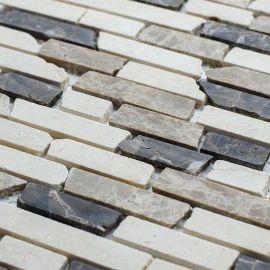 Мозаичный микс из натурального мрамора Broken Mix (JMST054) 305X305X5 мм (лист) из бежевых и коричневых цветов
