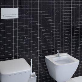 Черная мозаика из натурального мрамора Black Polished (JMST056)  для монохромной ванной комнаты