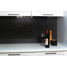 Черная мозаика из натурального мрамора Black Polished (JMST056)  для кухни холостяка