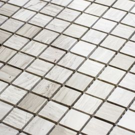 Мозаика Grey Polished (JMST026) 20x20 мм из натурального светло-серого мрамора