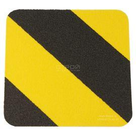 Черно-желтый абразивный квадрат противоскользящий 10х10 см Heskins