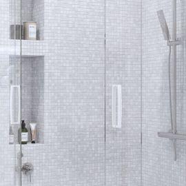 Мозаика White Polished (JMST037) 20x20 мм из натурального белого мрамора из коллекции Wild Stone подходит для влажных интерьеров