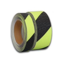 Желто-черная фотолюминесцентная лента melhose светится в темноте