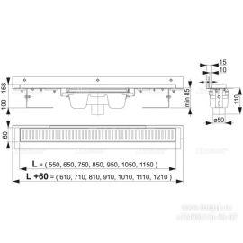 Размеры и схемы пристенного душевого трапа APZ1004 Flexible с порогами для перфорированной решетки и регулируемым воротником к стене.