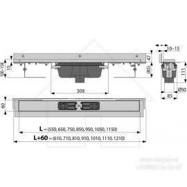 Вариант схемы пристенного душевого трапа APZ1004 Flexible с порогами для перфорированной решетки и регулируемым воротником к стене.