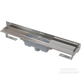 Пристенный душевой трап APZ1004 Flexible с порогами для перфорированной решетки и регулируемым воротником к стене и вертикальным стоком.
