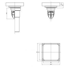 Схематические размеры золотого душевого трапа с сухим затвором Magdrain WC 02 Q50-ZW.