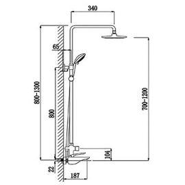 Душевая система Helmi SX-1070/00-16 хром-белый для ванной - схематические размеры