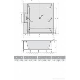 Схематические размеры большой ванны для двоих Came 175х175 Alpen.