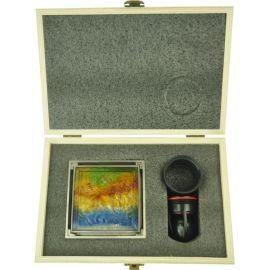 Закаленное стекло с драконом - накладка золотого душевого трапа с сухим затвором Magdrain WC 02 Q50-ZW.