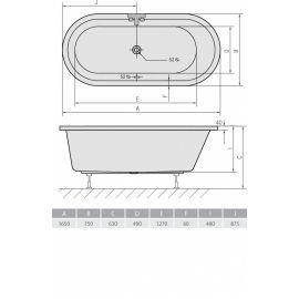 Акриловая овальная отдельностоящая ванна Astra O 165x75 производства Alpen - схематические размеры.