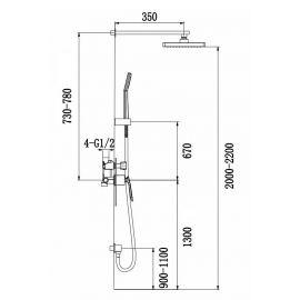 Душевая система скрытого монтажа Helmi SX-4069/00 SM с прямоугольной лейкой - схематические размеры