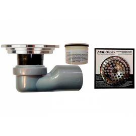 Собранный сантехнический трап для душа круглый MagDrain CC 01 Q50-GY и сетка фильтр.