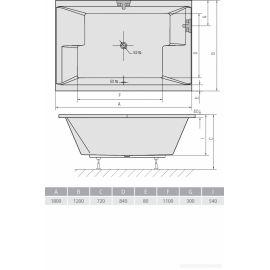 Прямоугольная ванна для двоих Dupla 180х120 Alpen - схематические размеры.
