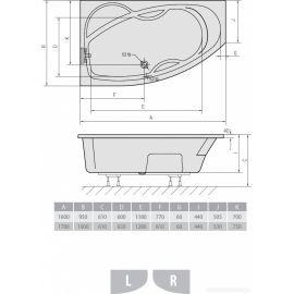 Акриловая ванна Mamba Alpen 160x95 R  - схема с размерами.