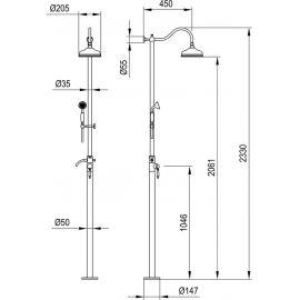 Душевая стойка Timo Arisa SX-5000/00 chrome - схематические размеры