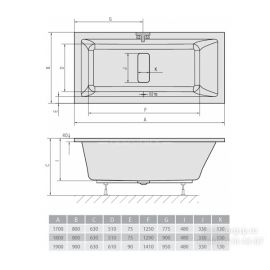 Акриловая ванна Alpen Marlene с широкой и глубокой чашей - схематические размеры.