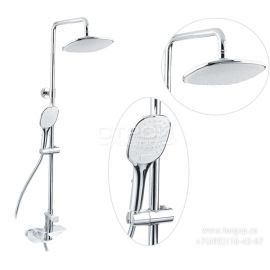 Душевая система Helmi SX-1070/00-16 хром-белый для ванной с прямоугольной лейкой в стиле модерн