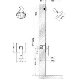 Душевая система Timo Torne SX-4379/00SM скрытого монтажа - схематические размеры