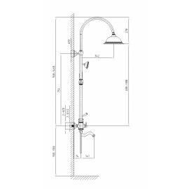 Душевая стойка Timo Adelia SX- 6010/00 chrome - схематические размеры