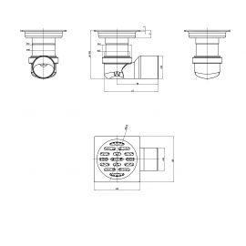 Схематические размеры сантехнического трапа с сухим затвором PC 01 Q50-G MagDrain.