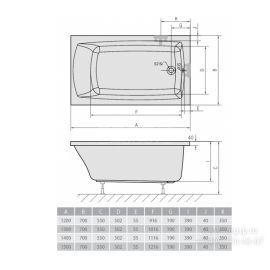 Схематические размеры ванны Alpen Lily.