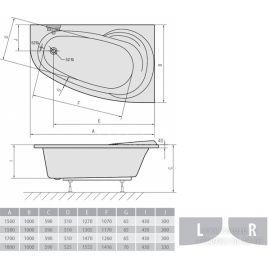 Правая асимметричная ванна Alpen Naos - схематические размеры.