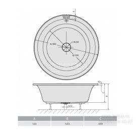 Круглая акриловая ванна Oblo 165 Alpen - схематические размеры