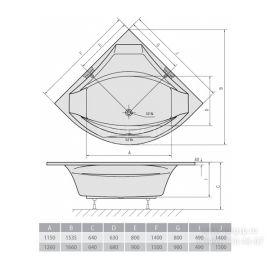 Схема угловой симметричной ванны Rosana 140x140 см и 150х150 см.
