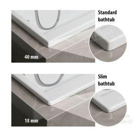 Высота кромки у акриловых разносторонних ванн.