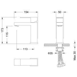 Смеситель для раковины Selene 2061 - схематические размеры