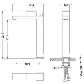 Смеситель Timo Selene 3011/17F для накладной раковины с высоким изливом. - схематические размеры