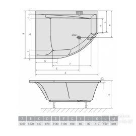 Приватная ванна Tandem 170 Alpen эксцентрическая акриловая ванна  - схематические размеры.