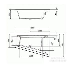Асимметричная акриловая разносторонняя ванна Triangl 180x120 см - схематические размеры.