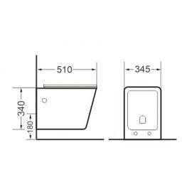 Безободковый унитаз подвесной Timo Soli TK-303 - схематические размеры