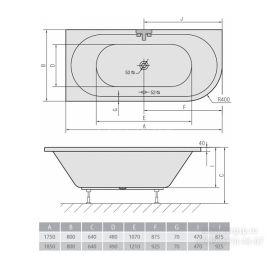 Акриловая ванна Alpen Viva с одной закругленной стороной - схематические размеры.