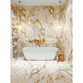 Керамогранитная плитка Palacio Karlos White 60x120 High Gloss в интерьере ванной комнаты