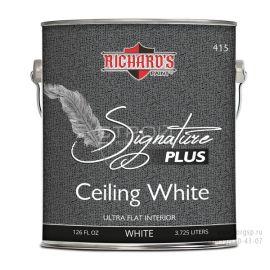 Краска для потолка скрывающая неровности Signature Plus Ceiling White.