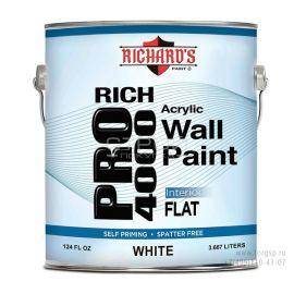Акриловая краска Flat - латексная краска для внутренних работ Rich Pro 4000.